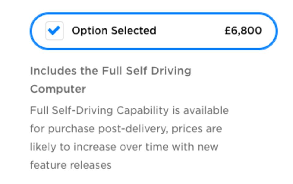 Telsa full self driving price UK